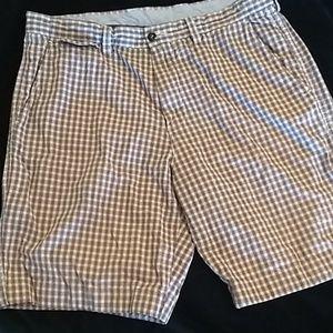 J Crew red plaid, lightweight shorts